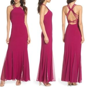 MORGAN & CO Raspberry Strappy Back Trumpet Gown